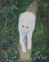 Original Oil Painting by Grace Moore - White Cat Walking Through Greenery