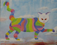 Original Oil Painting by G.A. Moore - Striped Cat Walking on Clouds