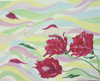 Original Oil Painting by G.A.Moore - Cerise Flowers Blowing in a Multi-Colored Wind