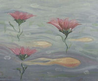 Original Oil Painting by Grace Moore - Surreal Vision of Squid Swimming Among Pink Floating Flowers