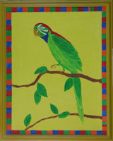 Original Painting by Carol Young - Green Parrot on a Bright Yellow Background