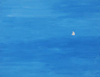 Original Painting by Fincher-Young - Small White Sailboat on Large Blue Sea