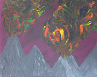 Original Painting by Carol Young - Erupting Volcanos