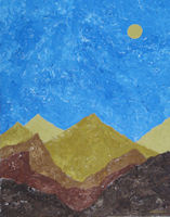Original Painting by Carol Fincher - Golden Mountains in the Desert