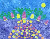 Original Painting by Carol Fincher - Stylized Colorful Potatoes Growing