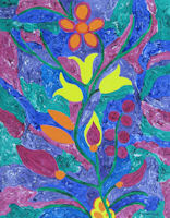 Original Painting by Carol Fincher-Young - Bright Floral Abstract