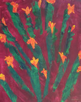 Original Painting by Carol Fincher-Young - Abstract of Cactus on Orange-Red Background
