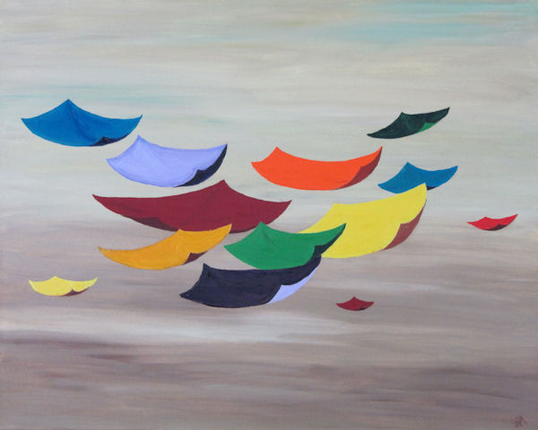 "Original OIl Painting of Bright Colored ""Kites"" Fliying Through the Sky"