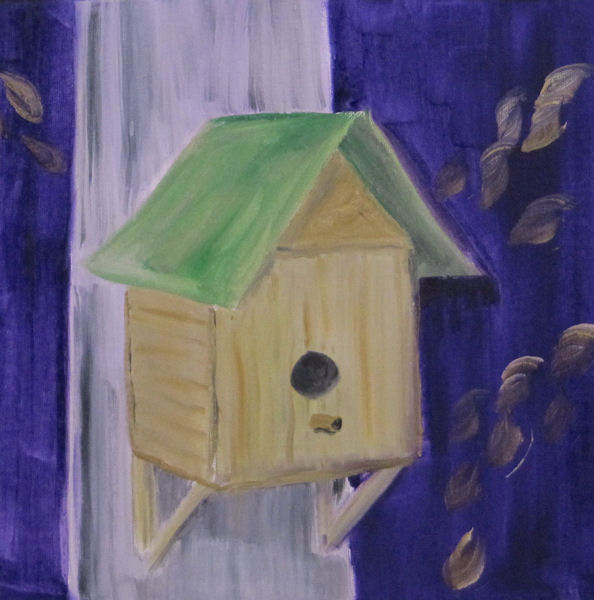 Original Oil Painting - Bird House on a Tree Trunk