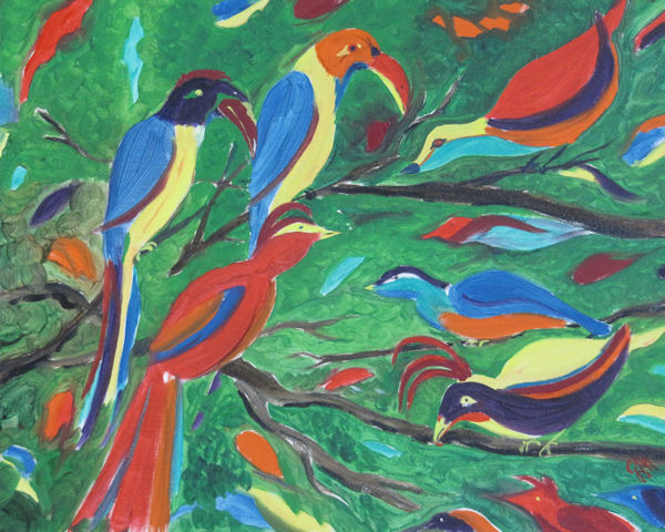 Original Oil Painting of Parrots in the Forest