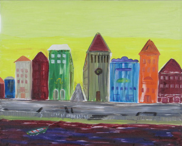Original Oil Painting by G.A. Moore - bright colored buildings on the quay