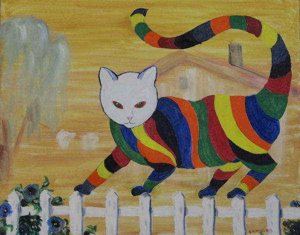 Original Oil Painting by Grace Moore - Brightly Striped Cat Walks a Picket Fence