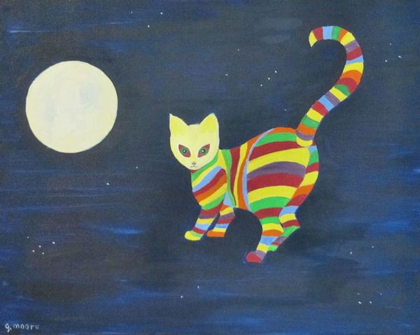 Original Oil by Grace Moore - Striped cat walking in the sky with the moon