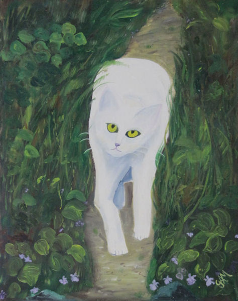 Original Oil Painting by G.A. Moore - White Cat Stalking Through Greenery