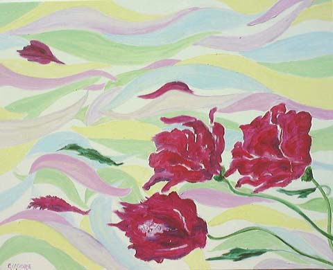 Original Oil Painting by G.A. Moore - Red Flowers in a Colorful Wind