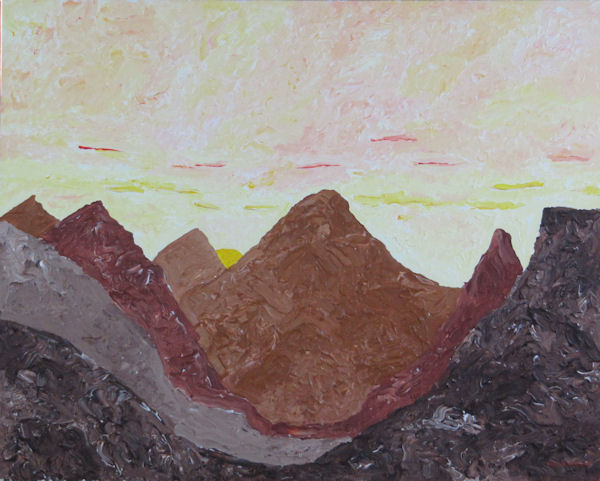 Original Painting by Carol Fincher - Stylized Mountains