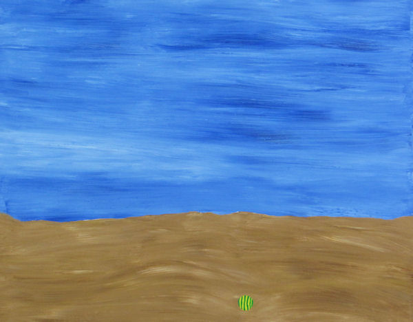 Original Painting by Carol Young - Abstract of Empty Beach with a Ball
