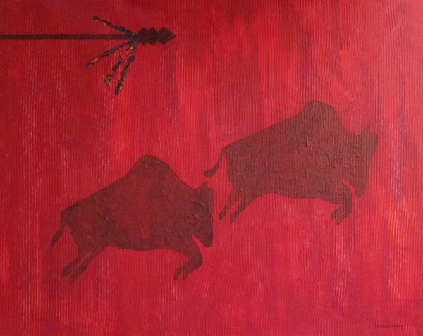 Original Painting by Carol Young - Abstract of Buffalo in Red