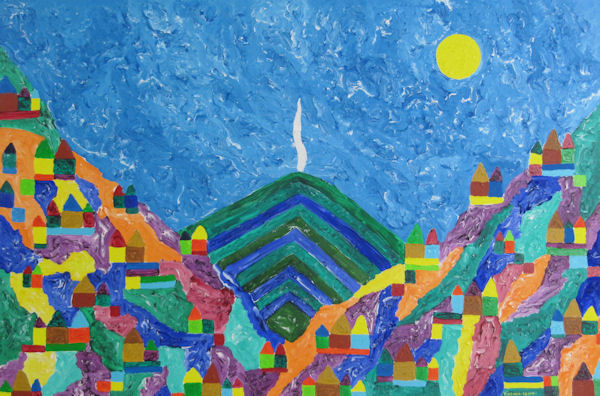 Original Painting by Carol Young - Abstract of Volcano with Bright Mountains