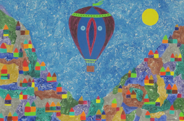 Original Painting by Carol Young - Abstract Balloon in Flight over Mountains