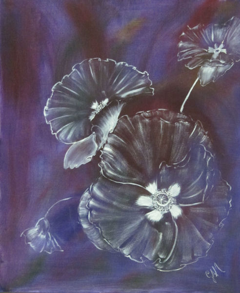 Original Oil Painting by Grace A. Moore - Shadowy floral on purple background