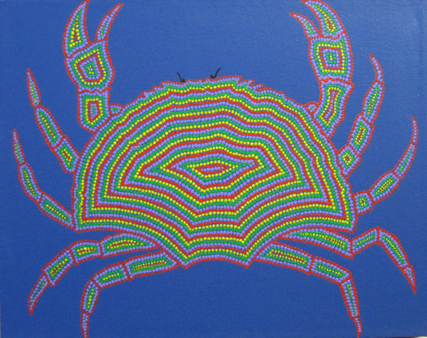 Crab on Blue in Aboriginal Dot Style by Fincher-Young