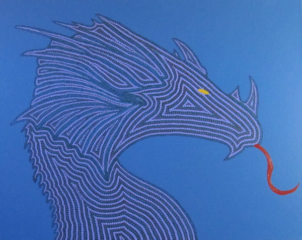 Abstract of Blue Dragon in Aboriginal Dot Technique