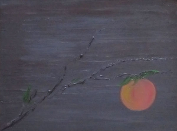 Single Peach on a Branch by G.A. Moore