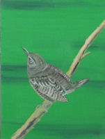 Original Oil by G.A. Moore - Small Bird on a Branch on a green background