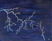 Original Oil by Grace Moore - Lightning in a Dark Sky