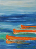 Original Oil by Grace Moore - Orange Canoes Racing