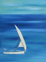Original Oil Painting by Grace Moore white sailboat on the ocean