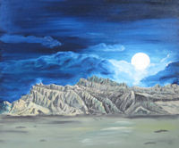 Original Oil Painting by Grace Moore - Moon Rising at Night Over Desert Mountains