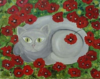 Original Oil Painting by G.A.Moore - Gray Cat in a Field of Red Flowers