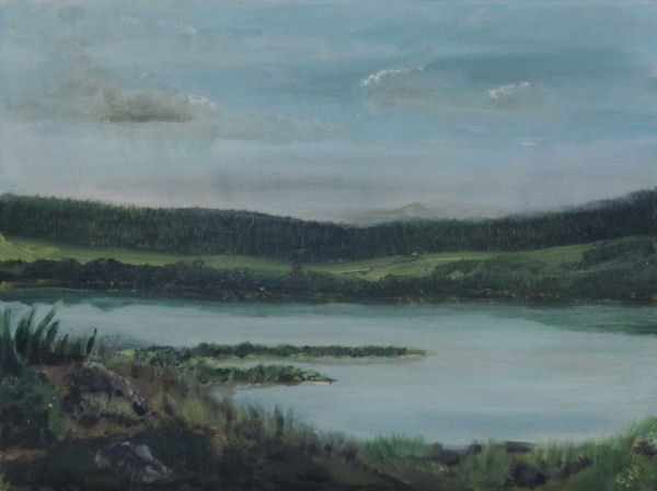 Original Oil by Grace Moore - Landscape with water and soft mountains