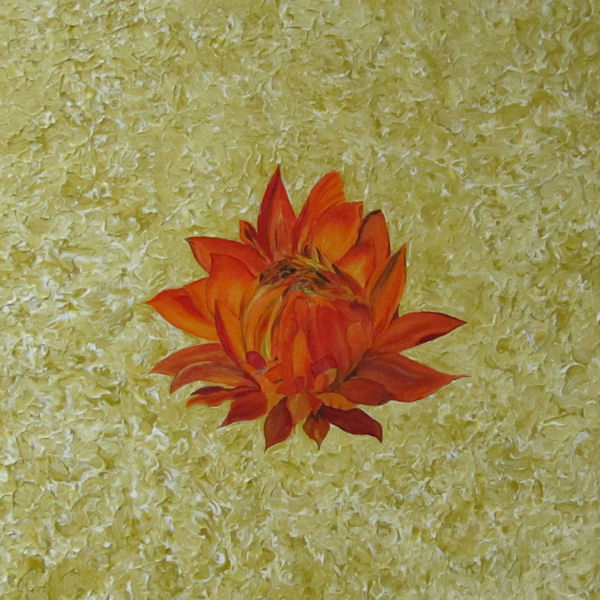 Original by Moore and Fincher-Young - Orange Lotus on a Cream Background
